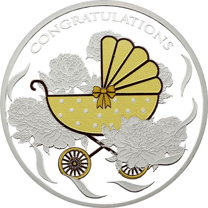 Baby Pram Tokelau Coin 2018  Tokelau has released the first in a new series dedicated to the happy occasion of welcoming a new baby into the world.  This delightful coin features an old fashioned, stylised pram, with a polka-dot pattern and neutral colour.  In the background, in sculpted relief, are some gorgeous peonies and a ribbon pattern.