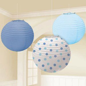 Paper Lantern DecorationsShower Ideas, Lanterns Sets, Paper Lanterns, Hanging Decor, Baby Boys, Blue Dots, Round Paper, Baby Shower