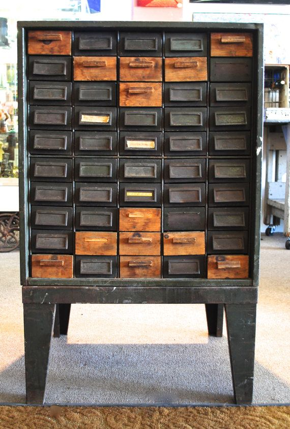 Vintage Industrial Metal 50 Drawer Tool Craft Storage Cabinet Card Catalog - Love the mix of different draw materials!!