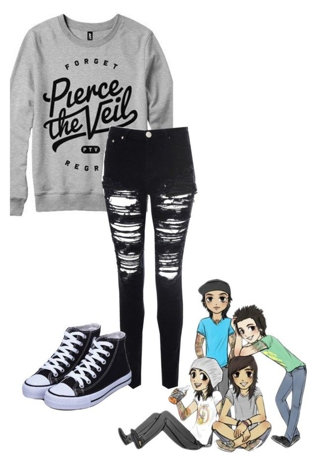 """Pierce the Veil"" by bands-are-my-savior ❤ liked on Polyvore featuring Glamorous, women's clothing, women, female, woman, misses and juniors"