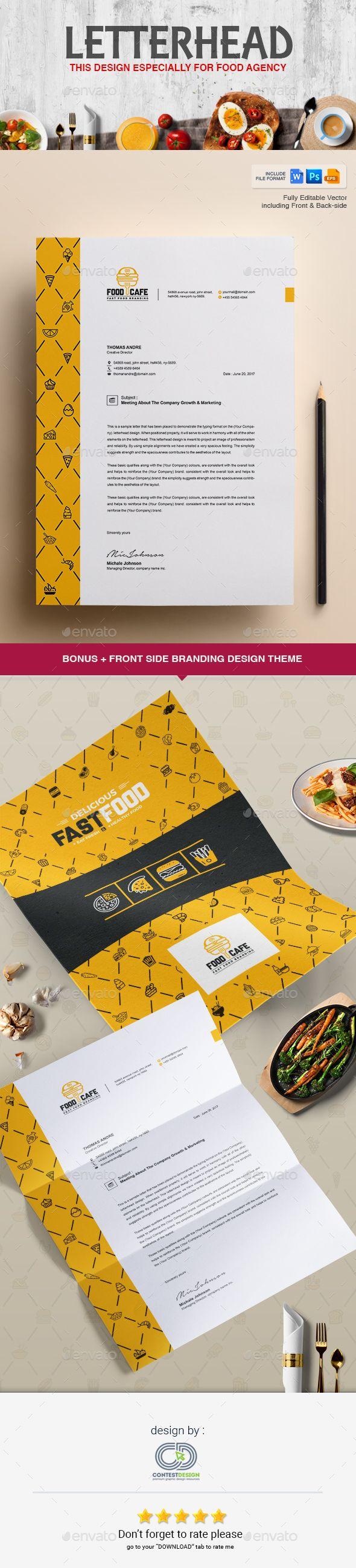 Letterhead Design Template for Fast Food / Restaurants / Cafe