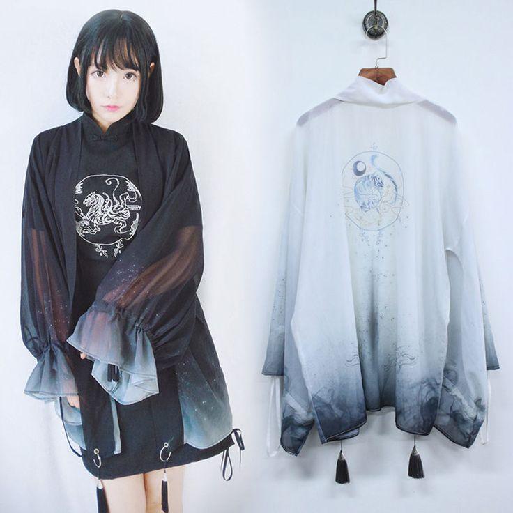 Japanese Harajuku Gothic Lolita Gradient Tassel Chiffon Loose Kimono Jacket Coat