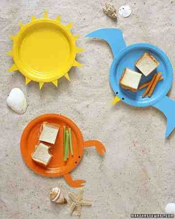 A picnic at the beach deserves the proper dishes -- what could be more fitting than colorful plates posing as a lobster, sun, and seagull?