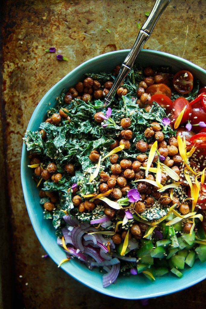 Tahini Kale Salad with Crispy Chickpeas- Vegan from http://HeatherChristo.com / Wholesome Foodie ♥️