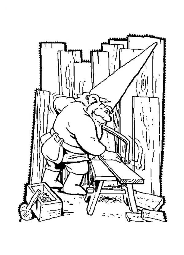 david the gnome, : David the Gnome Saw Up Piece of Wood Coloring Pages