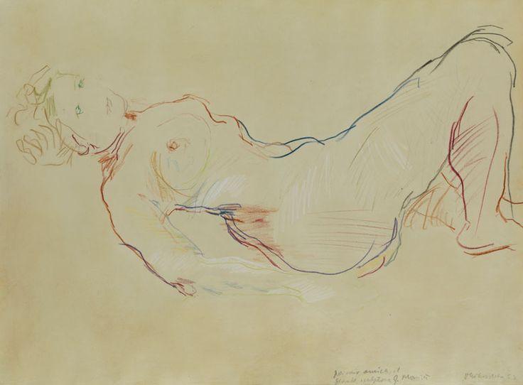 STUDIE EINER WEIBLICHEN FIGUR, 1953 Pastellkreide auf Papier. 45,7 x 60,9 cm. Rechts unten signiert und datiert sowie bezeichnet. Papier minimal gebräunt mit...