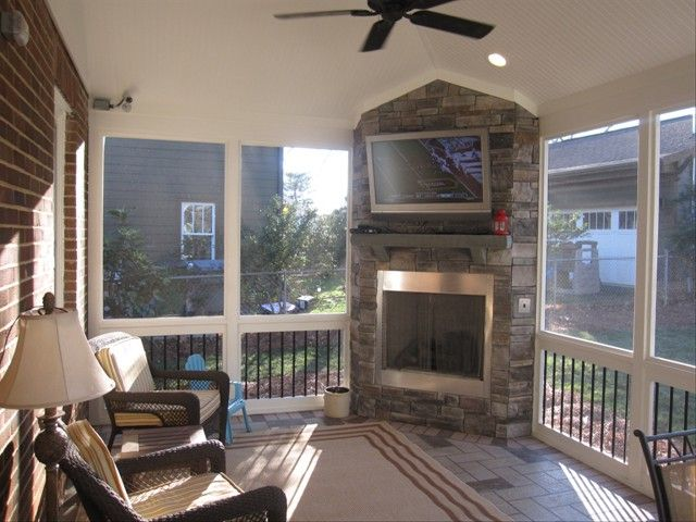 screened in deck with fireplace - Google Search