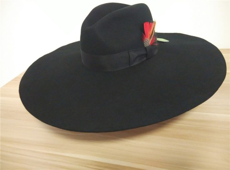 Luxury 100% Wool felt Wide Brimmed hat with 16cm large brim hat casquette chapeu fashion Black white Red