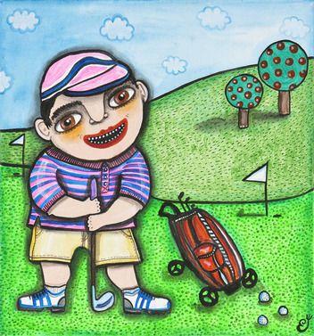 Alžbeta Čáková, obraz, maľba akrylom, Golfista, 80 €, 40 x 40 cm