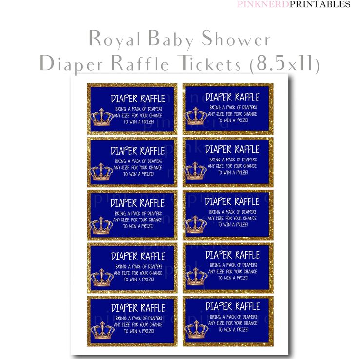 Royal Baby Shower Printable Diaper Raffle Tickets