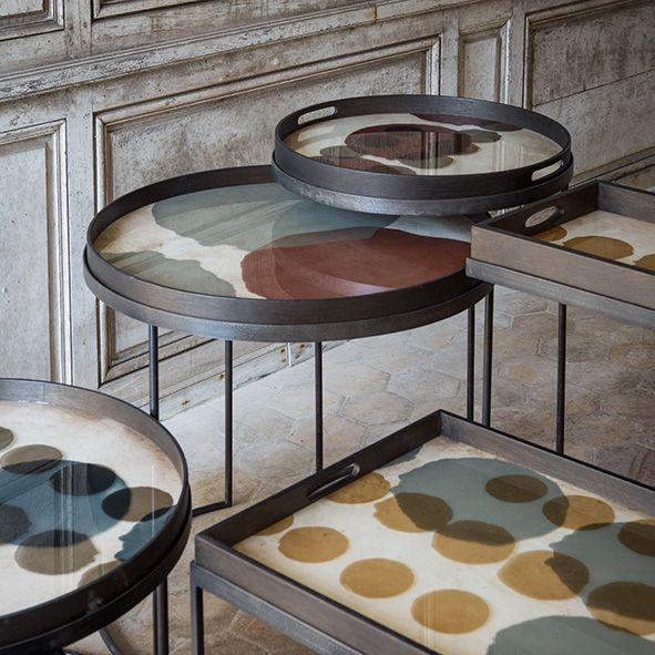 Grote Smalle Sidetable.Klein Dienblad Layered Dots Notre Monde Nesting Table