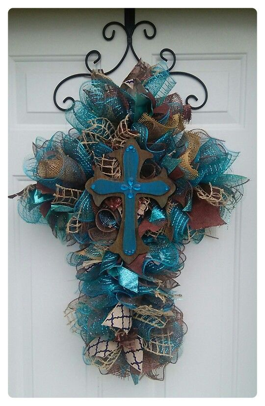 Cross Wreath by A Noble Touch! Like us on Facebook and Shop on Etsy: https://www.etsy.com/listing/276307368/teal-and-brown-deco-mesh-cross-wreath