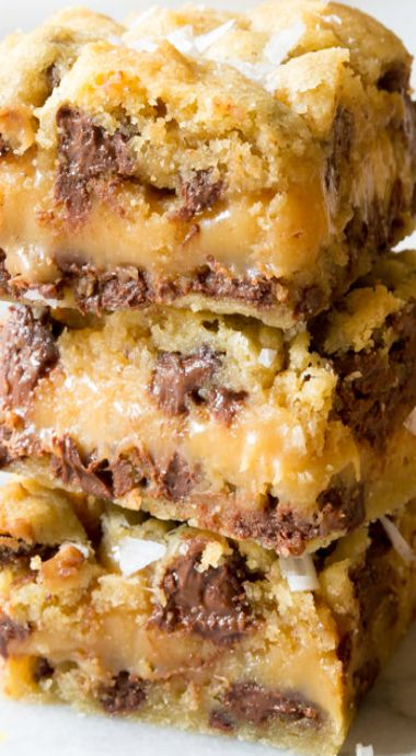 Salted Caramel Chocolate Chip Cookie Bars More