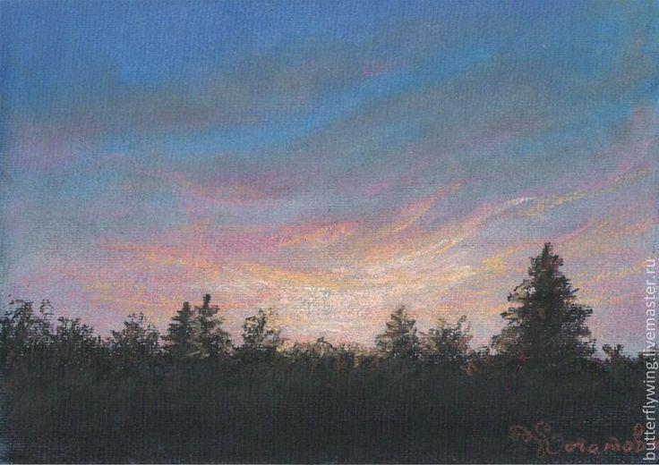 """""""Закат над лесом"""" картина пастелью - рисунок,картина,детская,гостиная"""