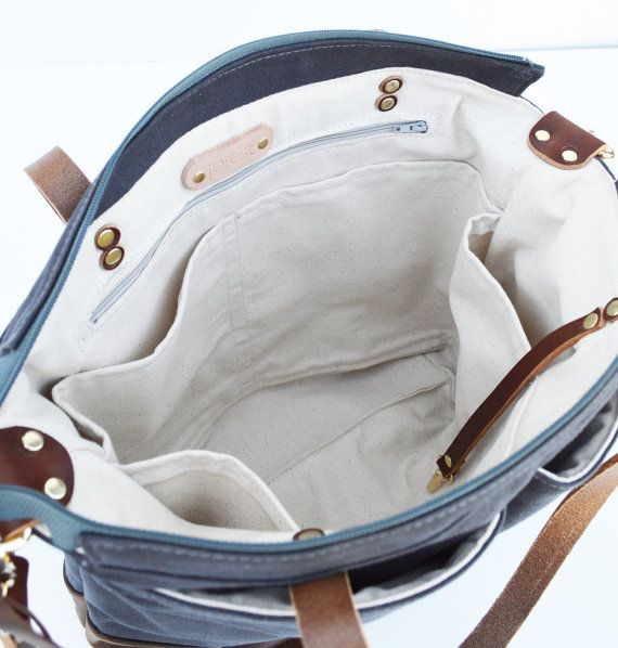 Grey waxed canvas and Dark Brown leather diaper bag by ForestBags