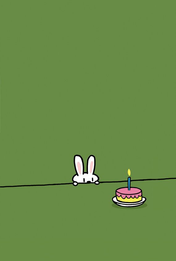 Green Background Bunny Birthday Card, Sebastien Millon