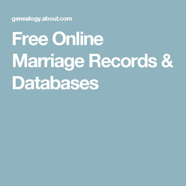 Free Online Marriage Records & Databases