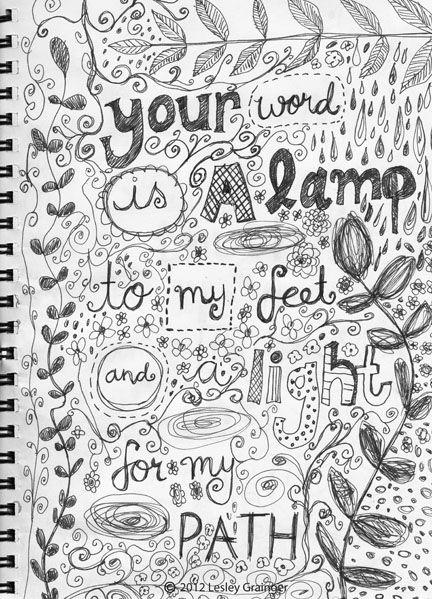 Scripture Doodle by Lesley Grainger Psalm 119 105