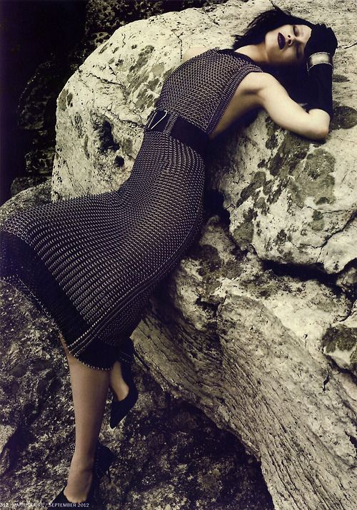 Ranya Mordanova in dress by Yves Saint Laurent, photographed by Danilo Giuliani for Marie Claire September 2012.