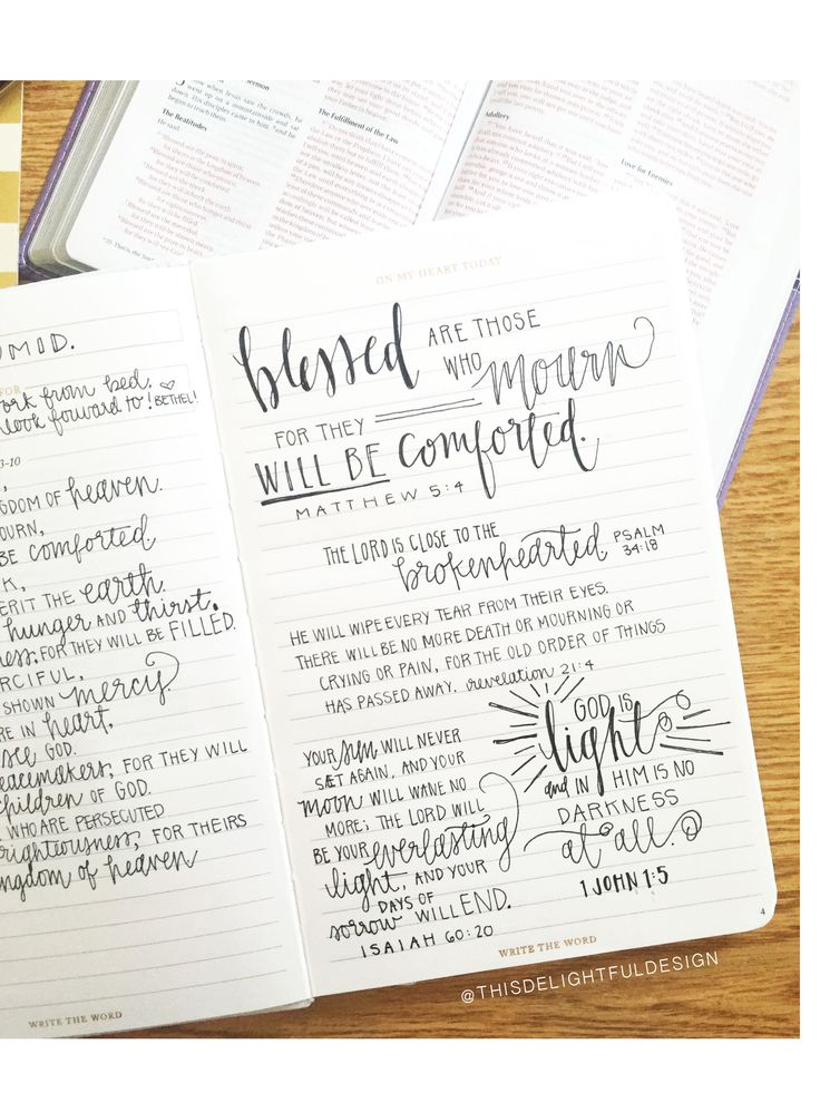 Blessed are those who mourn for they will be comforted. - Matthew 5:4 || The Lord is close to the brokenhearted. Psalm 34:18 || God is Light, and in Him is no darkness at all. - 1 John 1:5 || Bible Verse | Quote | Hand Lettering | Journal | Typography | Lara Casey | Write The Word  || This Delightful Design by Katie Clark