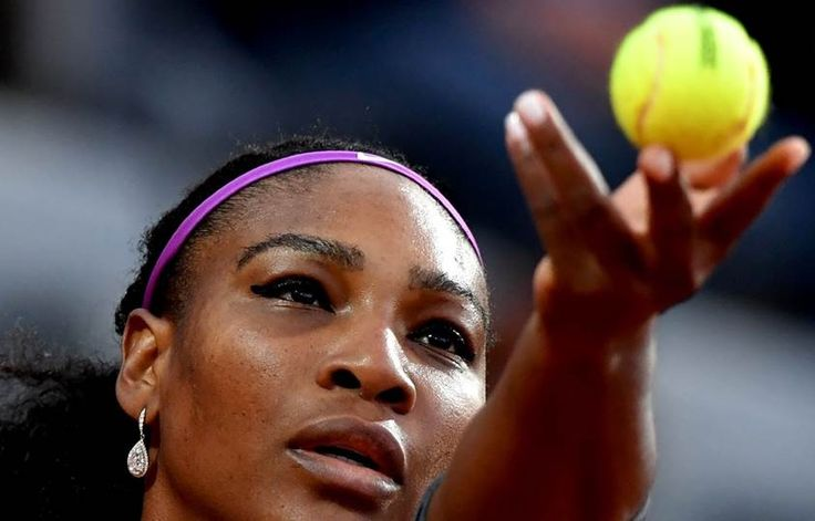 US tennis player Serena Williams serves to Anna-Lena Friedsam of Germany during the WTA Tennis Open tournament at the Foro Italico in Rome