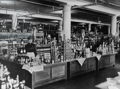 Canned goods counter at Macy's Department Store, Herald Square, New York City, c.1898
