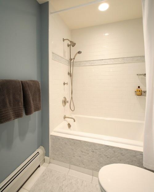 Simple, classic bath.  Love the white subway tile with the accent tile.: Nautical Bathrooms, Contemporary Bathrooms, Subway Tile, Bathroom Remodel, Olga Adler, Bathroom Ideas, Photo, Design