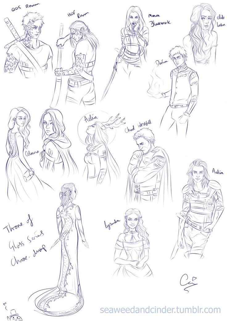 Throne of Glass Series character sketchdump by Zombie-Sasquatch