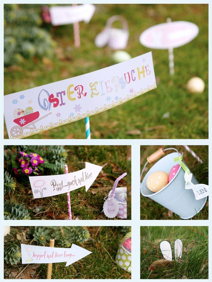 #Ostern - süße Schilder für die Eiersuche / easter egg hunt - Free #Printable