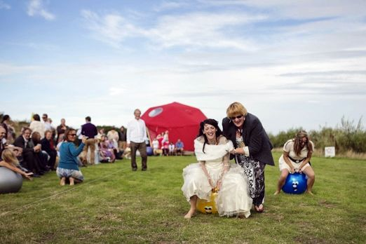 Bride on a spacehopper – photography http://www.mark-tattersall.co.uk/