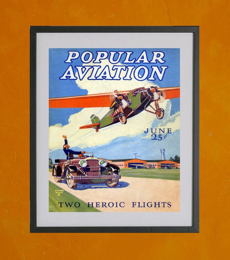 Popular Aviation Magazine Cover June 1928 by TwoDovesPrinting