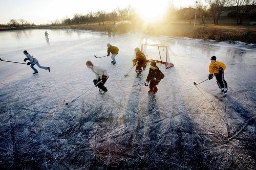 Pond hockey... (and fabulous light!)