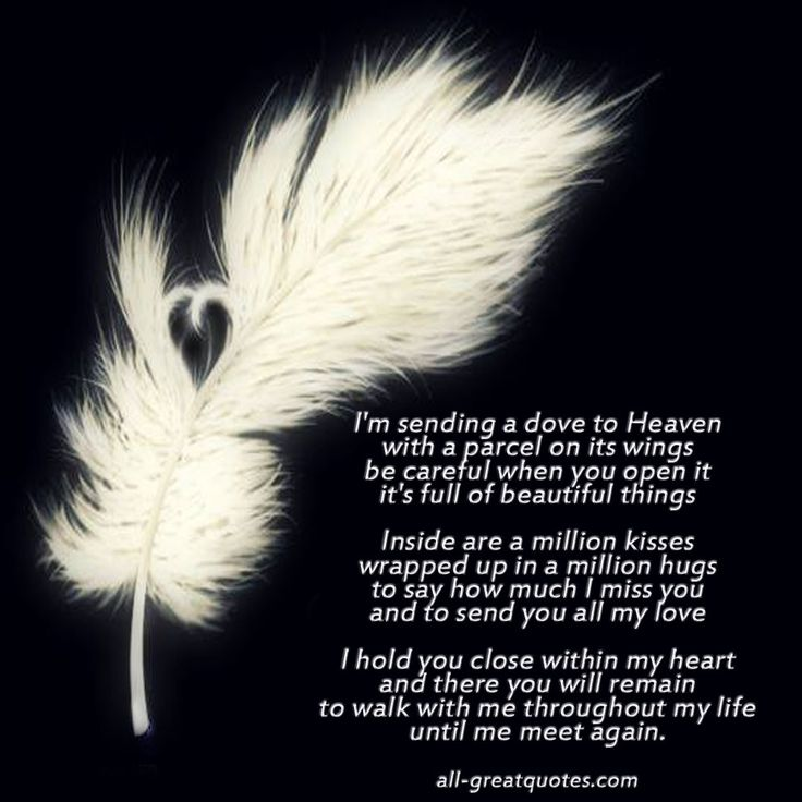 inlovingmemoryquotes | sending a dove to Heaven with a parcel on its wings - In Loving ...
