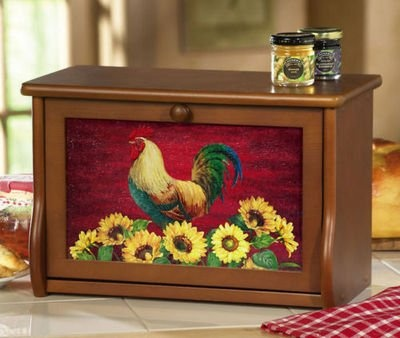 Rooster And Sunflower Kitchen Decor   ... Rooster Decor Wooden Bread Box Country Kitchen Rooster Sunflower Decor