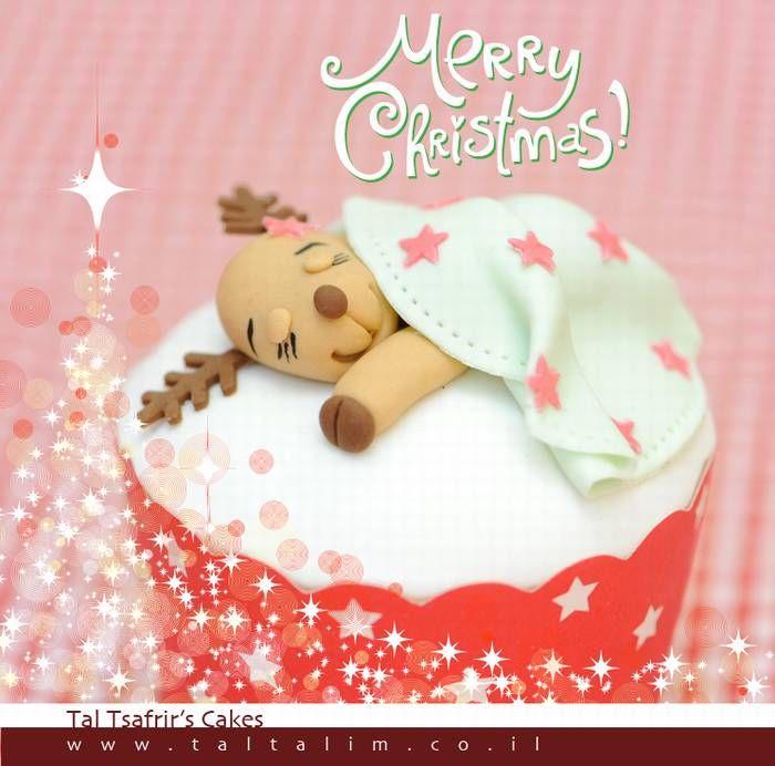 Christmas cake reindeer cupcake