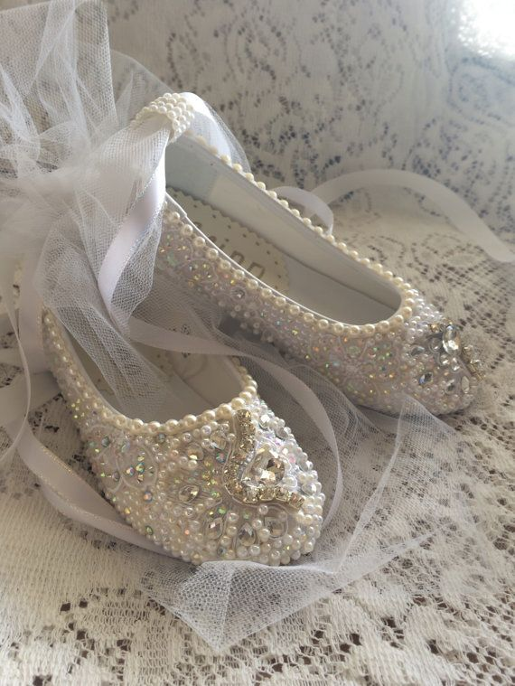 Wedding Flower Girl Shoes First Communion Hand by Elfinacreation