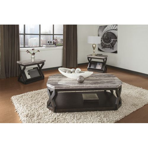 Features:  -Made of veneers, wood and manmade wood; faux marble tops with polyurethane finish.  -End tables with built-in magazine racks.  Top Finish: -Grey; Brown.  Base Finish: -Dark Brown.  Style: