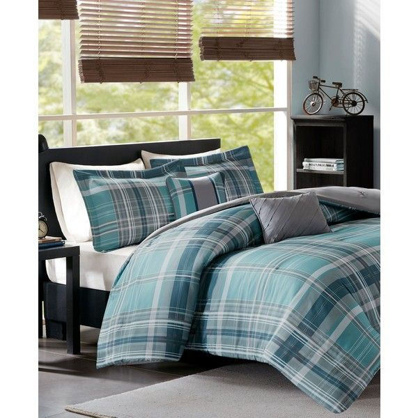 Intelligent Design Harold Reversible 4-Pc. Twin/Twin Xl Comforter Set ($140) ❤ liked on Polyvore featuring home, bed & bath, bedding, comforters, aqua, microfiber comforter, x long twin comforter, plaid comforter, twin xl comforter set and aqua comforter set