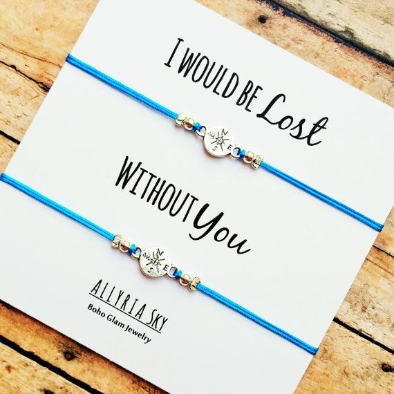 Set of Two Compass Friendship Bracelets with I Would by AllyriaSky