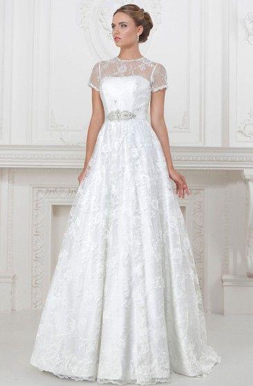 e2a3f0e14c5 A-Line Floor-Length High-Neck Appliqued Short-Sleeve Lace Satin Wedding  Dress With Waist Jewellery
