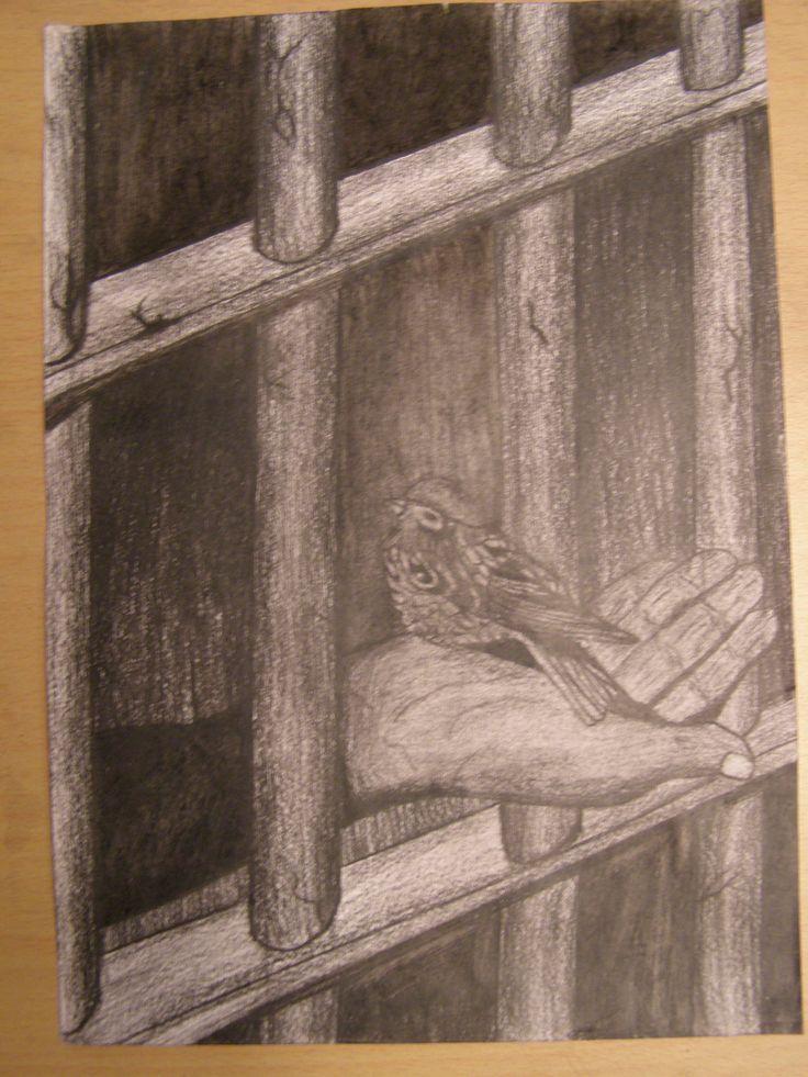 bird / prison drawing