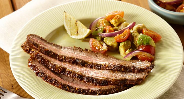 Grilled Flank Steak with Avocado Tomato Salad | Recipe