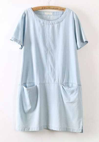 Light Blue Pockets Short Sleeve Loose Denim Dress