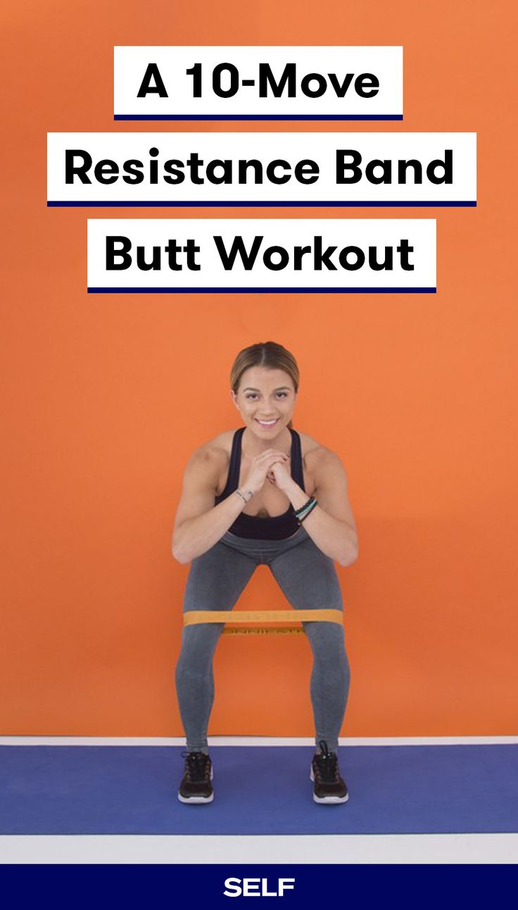 Trainers love band workouts because they're really great for targeting the muscles in the butt—the gluteus maximus, gluteus medius, and gluteus minimus. Bonus: A resistance band is one of the most inexpensive, convenient pieces of workout equipment you can own. You can get a pack online for $10 or less, and they take up essentially no space—perfect for anyone's home gym. Try out this 10-move band butt workout next time leg day rolls around.