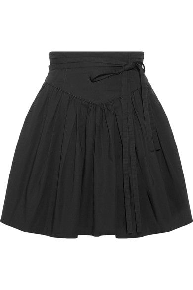 Marc Jacobs - Belted Gathered Stretch-cotton Poplin Mini Skirt - Black - US12