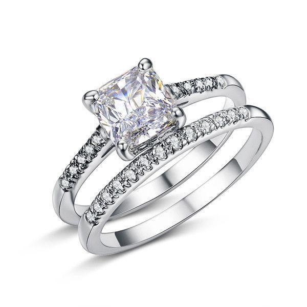Engagement Ring Set Two Band 1.6 Carat Princess Cut Zirconia Crystal Wedding Rings for Women Hot Anillos Anel