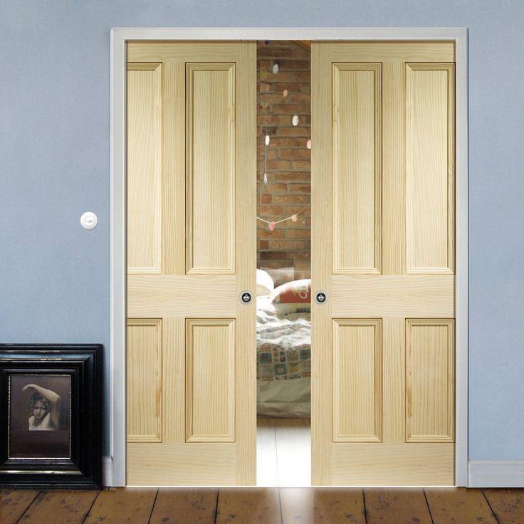 Double Pocket Edwardian 4 Panel VG Pine Solid Door. #pinedoors #pocketdoors #panelledpocketdoors