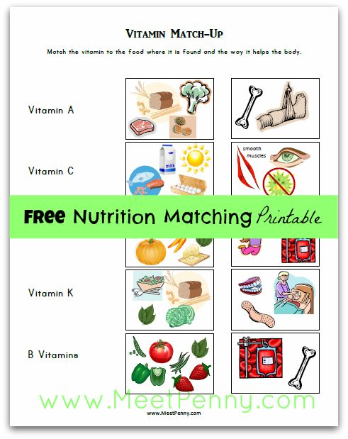 vitamin match from meetpenny - free nutrition printables homeschool lesson