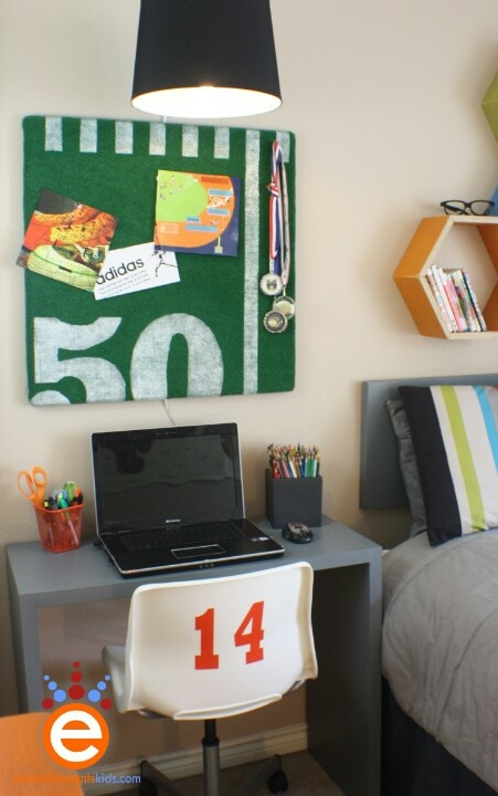 Green felt, cork board, white paint and some wooden numbers to use as stamps. Also digging the shelves and team # on the back of thw chair