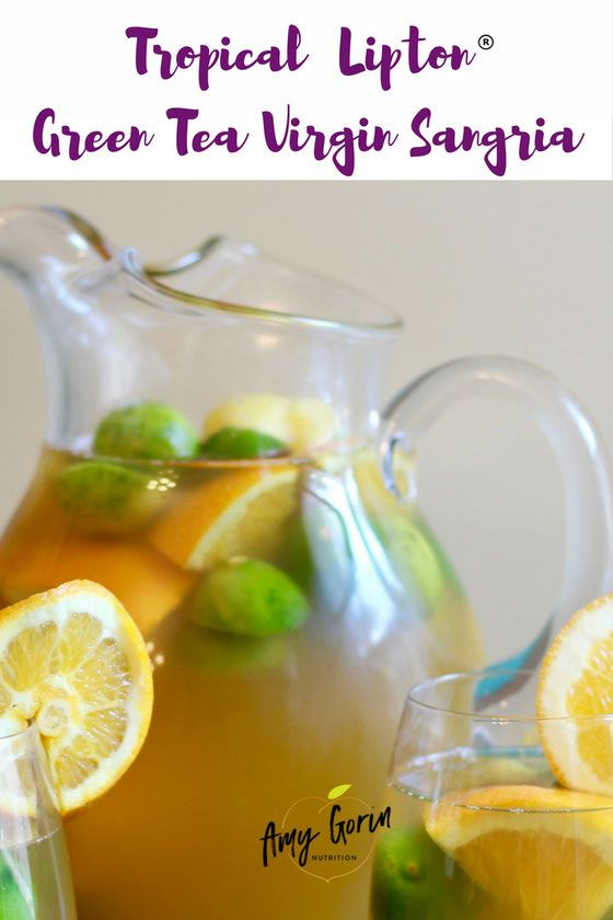 Looking for virgin sangria recipes? This non alcohol mocktail pick is made with Lipton green tea and is great for parties! | grape juice | summer  via @AmyGorin
